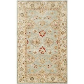 Safavieh Handmade Antiquity Blue-grey/ Beige Wool Rug (2'3 x 4')