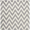 Safavieh Handmade Moroccan Cambridge Chevron Silver Wool Rug (6' Square)