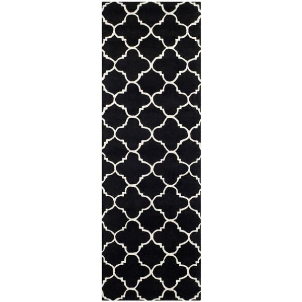 "Safavieh Handmade Moroccan Black Wool Rug with Thick Pile (2'3"" x 7')"
