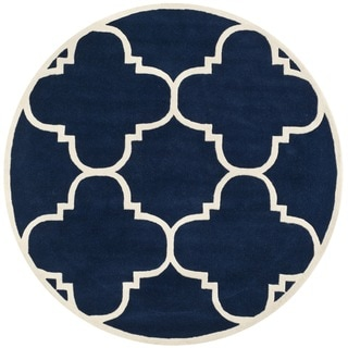 Handmade Moroccan Dark Blue Wool Indoor Rug (7' Round)