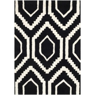 Contemporary Handmade Moroccan Black Wool Rug (2' x 3')
