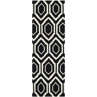 "Contemporary Handmade Moroccan Black Wool Rug (2'3"" x 7')"
