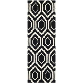 "Contemporary Handmade Moroccan Black Wool Rug (2'3"" x 7')"