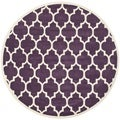 Handmade Moroccan Purple Wool Indoor Rug (7' Round)