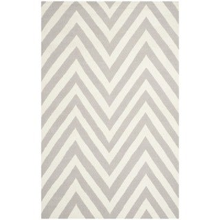 Safavieh Hand-woven Moroccan Dhurrie Chevron Dhurrie Grey Wool Rug (9' x 12')