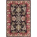 Handmade Heritage Kerman Chocolate Brown/ Red Wool Rug (2' x 3')