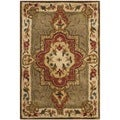 Safavieh Handmade Royalty Green/ Ivory Wool Rug (2' x 3')