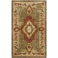 Safavieh Handmade Royalty Green/ Ivory Wool Rug (3' x 5')