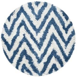 Safavieh Hand-made Chevron Ivory/ Blue Shag Rug (4' Round)