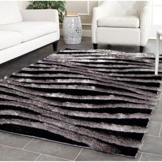 Safavieh Handmade 3D Shag Black/ Grey Rug (3'6 x 5'6)
