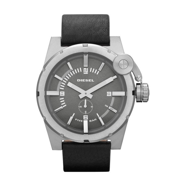 Diesel Men's Leather Strap Grey Dial Watch