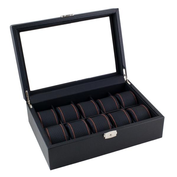 Caddy Bay Collection Black Carbon Fiber Pattern Orange Stitching Watch Box Display Case