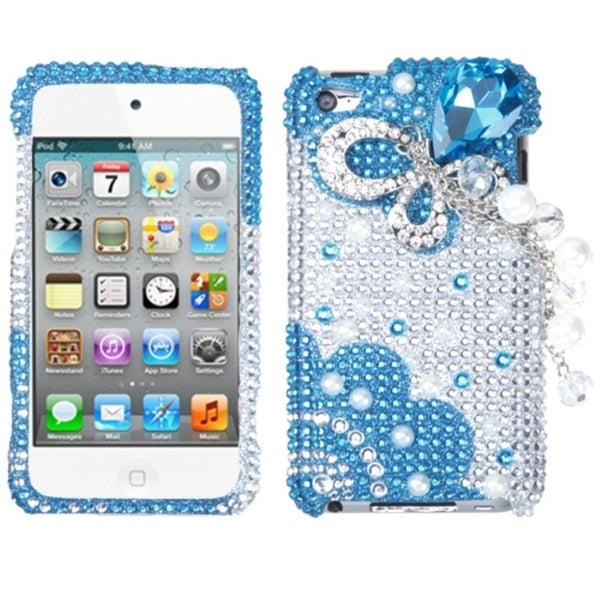 INSTEN Blue Butterfly Chain iPod Case Cover for Apple iPod Touch 4th Generation