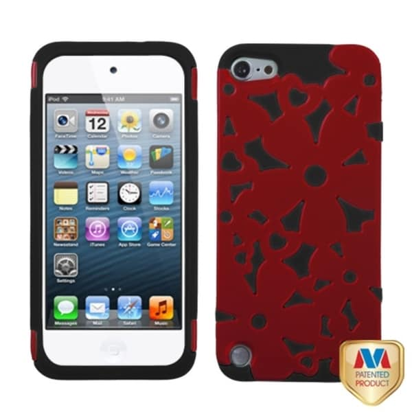 INSTEN Red/ Black Flowerpower iPod Case Cover for Apple iPod Touch 5th Generation