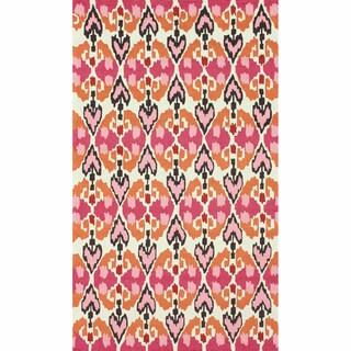 nuLOOM Handmade Ikat Pink Rug (8'3 x 11')