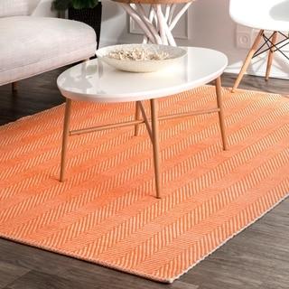 nuLOOM Handmade Flatweave Herringbone Chevron Orange Cotton Rug (8' x 10')