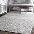 nuLOOM Handmade Flatweave Moroccan Trellis Grey Cotton Rug (5' x 8')