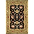 Safavieh Hand-made Anatolia Black/ Green Wool Rug (4' x 6')
