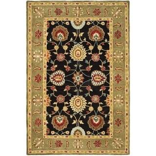 Safavieh Hand-made Anatolia Black/ Green Wool Rug (5' x 8')