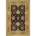 Safavieh Hand-made Anatolia Black/ Green Wool Rug (5' x 8')
