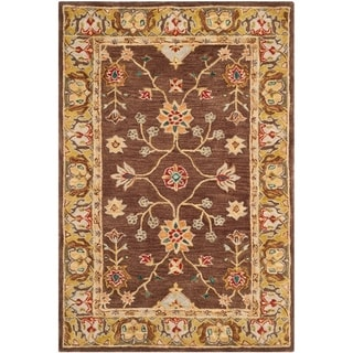 Safavieh Hand-made Anatolia Brown/ Gold Wool Rug (5' x 8')