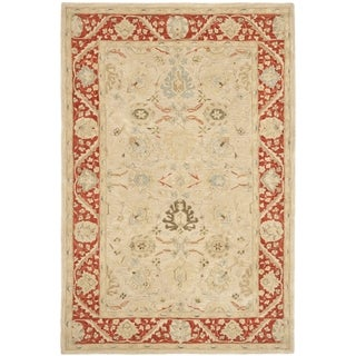 Safavieh Hand-made Anatolia Taupe/ Red Wool Rug (4' x 6')