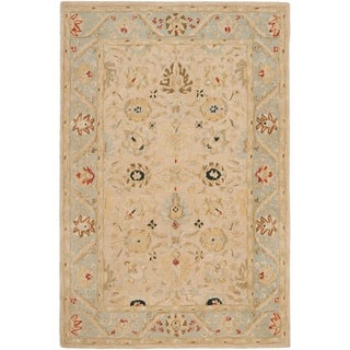 Safavieh Hand-made Anatolia Natural/ Soft Turquoise Wool Rug (6' x 9')