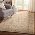 Safavieh Hand-made Anatolia Taupe/ Blue Wool Rug (6' x 9')
