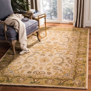 Safavieh Hand-made Anatolia Ivory/ Brown Wool Rug (5' x 8')