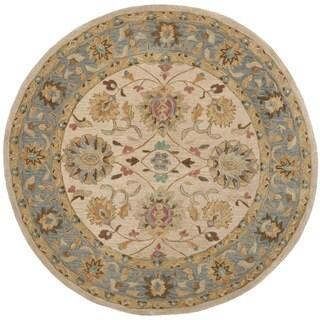 Safavieh Hand-made Anatolia Ivory/ Blue Wool Rug (6' Round)