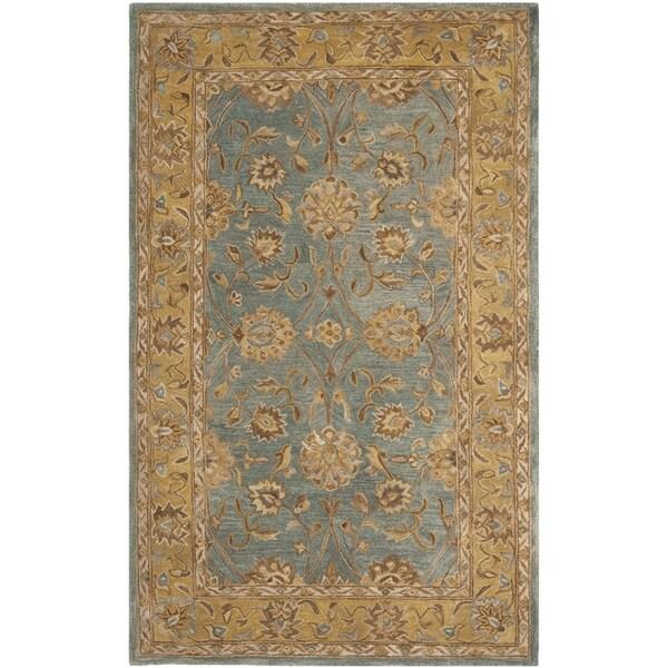 Safavieh Hand-made Anatolia Blue/ Green Wool Rug (4' x 6')