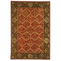 Safavieh Hand-made Anatolia Red/ Navy Wool Rug (6' x 9')