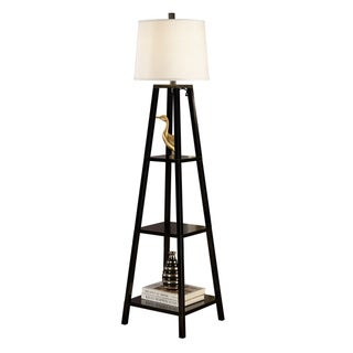 Artiva USA Elliot Modern 63-inch Java-black Finish 3-tiered Wood Floor Lamp