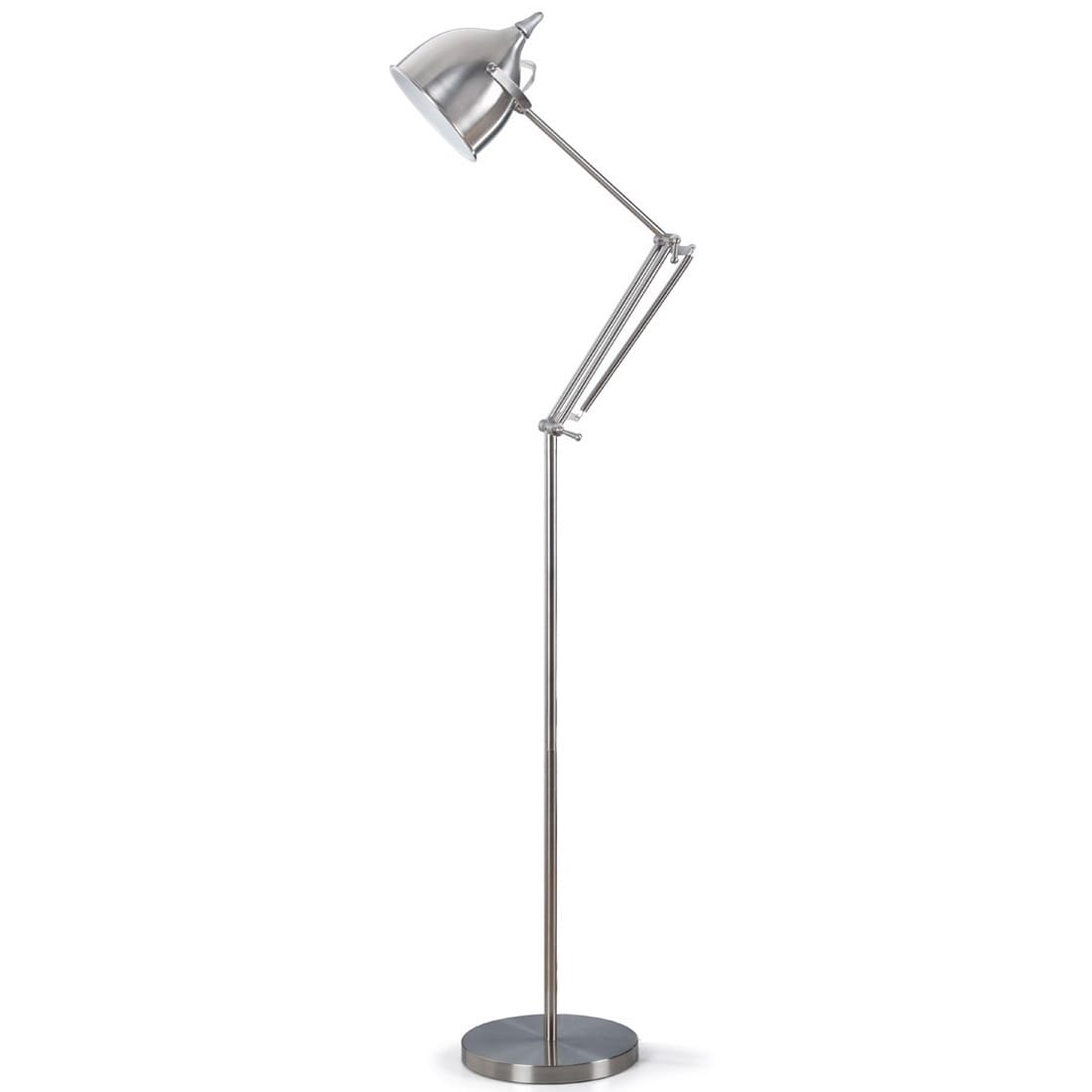 Steel Metal Floor Lamp With Adjustable Swing Arm And Heavy Sturdy Base