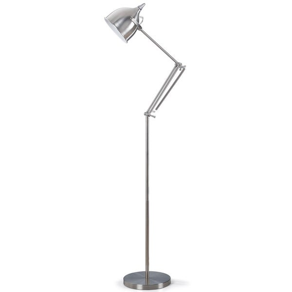 Artiva USA Silverado Contemporary 61-inch Brushed Steel Metal Floor Lamp with Adjustable Swing Arm and Heavy Sturdy Base