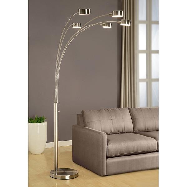 Artiva USA 'Micah' Modern Arched Brushed Steel Five Light 88-inch Floor Lamp