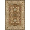 Safavieh Hand-made Anatolia Brown/ Ivory Wool Rug (6' x 9')