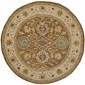 Safavieh Hand-made Anatolia Brown/ Ivory Wool Rug (6' Round)