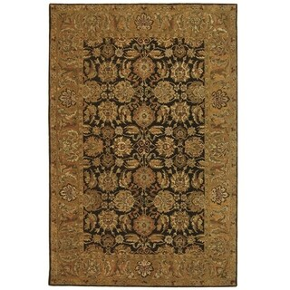 Safavieh Hand-made Anatolia Dark Brown/ Gold Wool Rug (5' x 8')