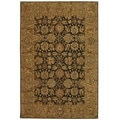 Safavieh Hand-made Anatolia Dark Brown/ Gold Wool Rug (6' x 9')