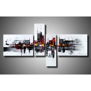 'Abstract 454' Hand-painted 4-piece Gallery-wrapped Canvas Art Set