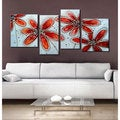 'Red Flower 465' Hand-painted 4-piece Gallery-wrapped Canvas Art Set
