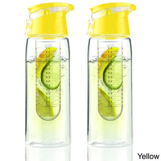 Pure Flavour 2 Go Tritan Plastic Water Bottles with Built in Fruit Diffuser (Set of 2)