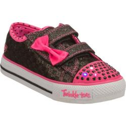 Girls' Skechers Twinkle Toes Shuffles Sweet Steps Black/Pink