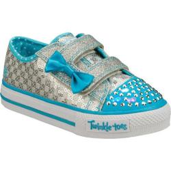 Girls' Skechers Twinkle Toes Shuffles Sweet Steps Silver/Blue