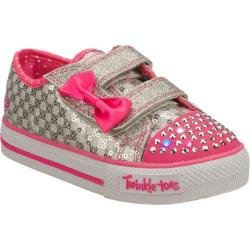Girls' Skechers Twinkle Toes Shuffles Sweet Steps Silver/Pink