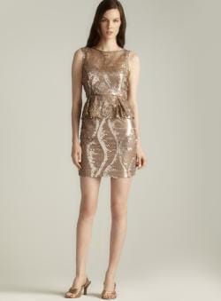 Adrianna Papell Sequin & Lace Peplum Dress