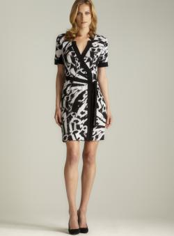 Calvin Klein Notch Collar Faux Wrap Printed Dress