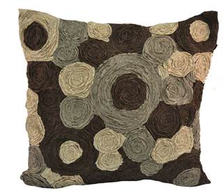 Mutli Rouched Circles 18-inch Decorative Pillow