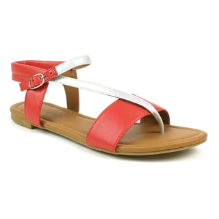 Mark & Maddux Women's 'Paul-03' Red Strappy Flat Sandals